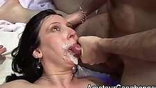 Mature woman gets pussy fucked deep and hard and taking facial cum