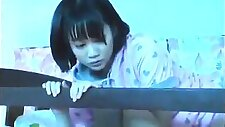 Petite Japanese girl with small tits gets her twat creampied