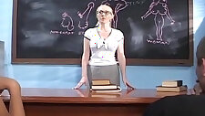 Teacher in a threesome on camera with studs