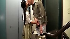 Lovely Japanese schoolgirl takes a hard shaft in her mouth