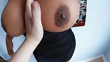 Big tittied slut oils up