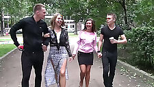 Two young swinger couples arrange crazy group sex fun at home