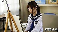 Cute japanese schoolgirl gets screwed in plenty of positions