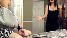 Mommy helps her stepson with handjob