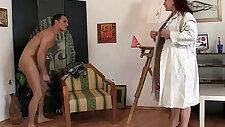 Hot mature slut lady jumps on his cock